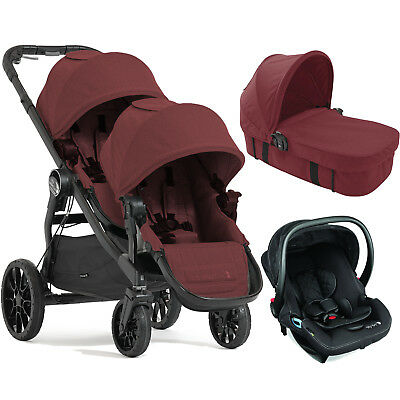 BABY JOGGER PORT CITY SELECT LUX TANDEM TRAVEL SYSTEM & CARRYCOT (x1 CARSEAT)
