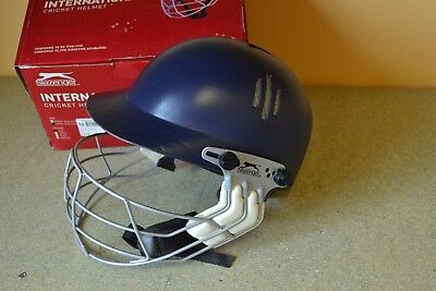 Slazenger International Cricket Helmet Size Junior 54cm-57cm Navy BOXED USED #A
