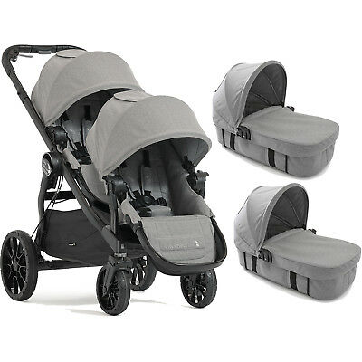 BABY JOGGER SLATE CITY SELECT LUX TANDEM PUSHCHAIR DOUBLE STROLLER & x2 CARRYCOT