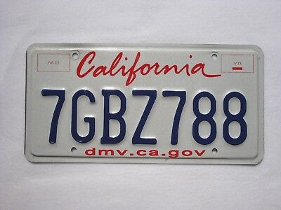 CALIFORNIA Vintage License Plate # 7GBZ788