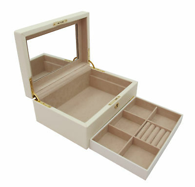 Cordays Handmade Marsala Wooden Smooth PU Leather Jewellery Box with Mirror CDL-