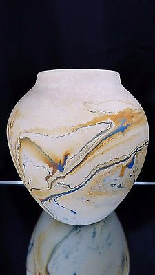 "Nemadji Pottery Art Pottery Vase USA Pottery Blue Orange Gray Swirl 5"" Tall"