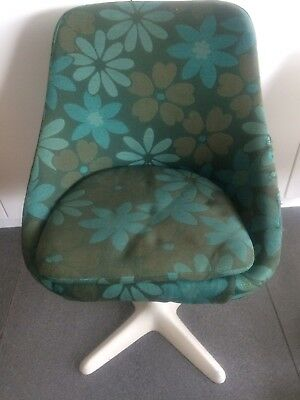 Vintage 60s Tulip Style Office Chair Floral Green Print