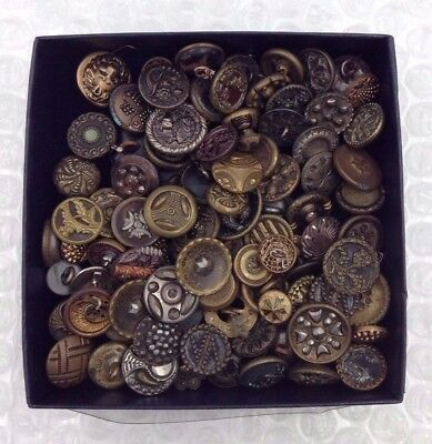 Estate Mixed Lot 90+ Antique Metal Victorian  Small Diminutive Buttons