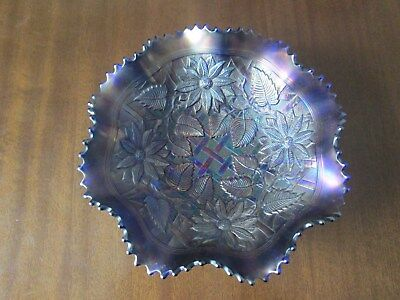 STRIKING NORTHWOOD POINSETTIA LATTICE BOWL (Purple/Blue?)