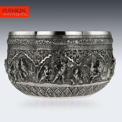 ANTIQUE 19thC BURMESE MAUNG SHWE YON & SONS SOLID SILVER BOWL, RANGOON c.1890