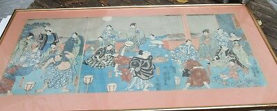 Antique Japanese Woodblock Triptych Actors Musicians Audience Highly Decorative