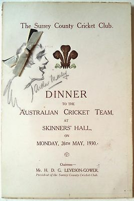 Australia To England 1930 – Bradman'S First Appearance At The Oval Signed Menu