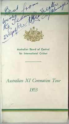 Australia To England For The 1953 Coronation Ashes Tour Fully Signed Itinerary