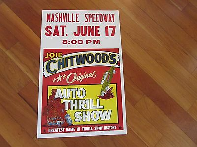 Joie Chitwood Thrill Show original outdoor cardboard  ad poster 14x22 in. 1960's