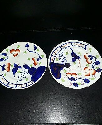 Antique Allertons Gaudy Welsh Pair Of Side Plates