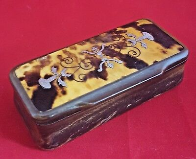 Victorian Horn And Silver Inlaid Snuff Box