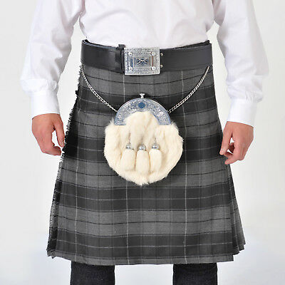CHEIFTAIN Grey Highlander 8 Yard DELUXE Kilt All Sizes Exclusive to Us