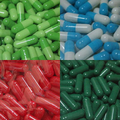 EMPTY GELATIN CAPSULES SIZE 0 (Kosher HALAL) gel caps Colored Free Shipping