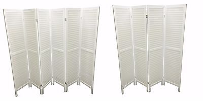 Wooden Slat Room Divider Home Privacy Screen Partition Wall White 4/6 Panel