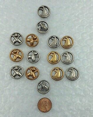 15 Assorted Vintage c1940 Goofies Metalized Plastic SPORTS SET BUTTONS