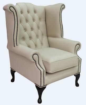 Chesterfield Armchair Queen Anne High Back Wing Chair Ivory Cream Leather