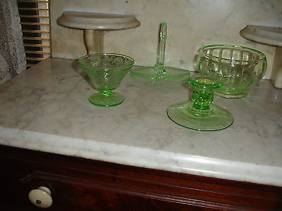 Green Depression Style Glass - Four Pieces