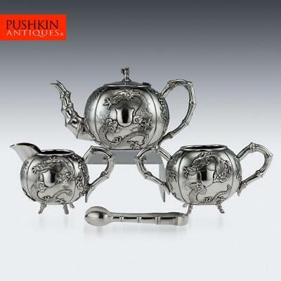 ANTIQUE 20thC CHINESE EXPORT SOLID SILVER DRAGON TEA SET, CHEONG SHING c.1910