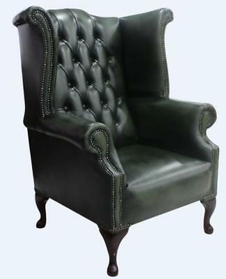 Chesterfield 1780's Queen Anne High Back Wing Chair Antique Green Leather