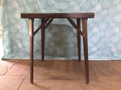 Old Folding Green Bazie Topped Card/Games Table