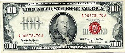 Amazing 1966 $100 Red Seal U.S. Legal Tender Note RR593