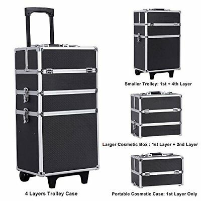 Rolling Makeup Train Case Lockable Professional Artist Trolley Cosmetic Box NEW