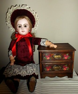 Wood two drawers furniture for your antique dolls, handmade