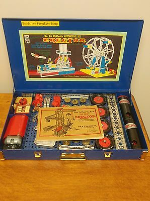 Incredible Vintage A.C. Gilbert Original 1940 Erector Set 9 1/2 Blue Complete