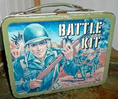 1965 Battle Kit Metal Lunch box By Thermos Brand Military TV Show Lunchbox!