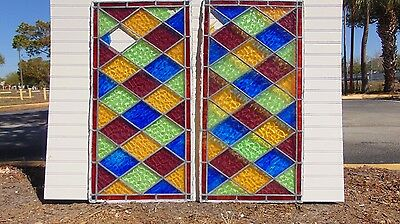 Antique Stained Glass Windows - Lead framed - Vibrant Colors - Matching Panes