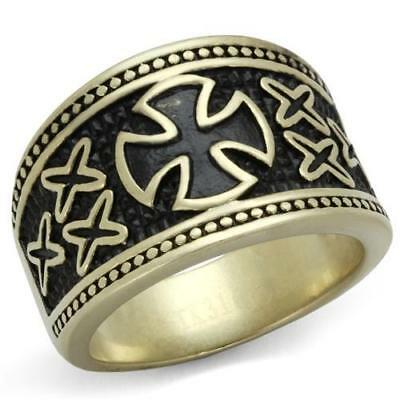 Men's Antique Copper Plated Knights Templar Stainless Steel Cross Ring TK2469