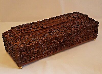 Victorian Carved Anglo Indian Sandalwood Mysore Box With Working Lock And Key