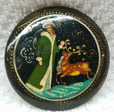 Vintage Russian Lacquer Pin Brooch Fairy Tale Fable Snow Maiden
