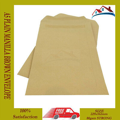 New 1000 X A5 C5 Plain Manilla Brown Envelope Envelopes 80 Gsm Self Seal