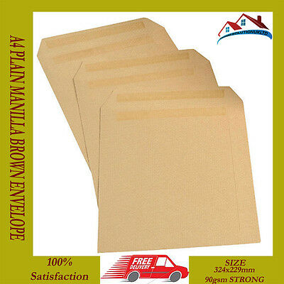 New 250 X A4 C4 Plain Manilla Brown Envelope Envelopes 90 Gsm Self Seal