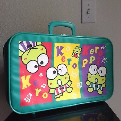 Vintage Kero Kero Keroppi Lot Carry-On Luggage & Metal Tin Box w/ Strap SANRIO