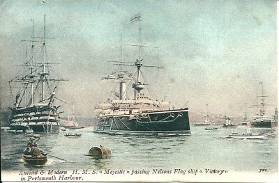 H.M.S. MAJESTIC & NELSONS SHIP VICTORY  Printed Postcard.