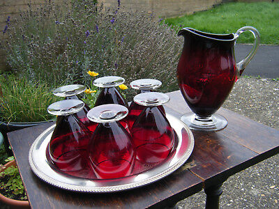 Vintage Ruby Red Glass Quality Footed Jug with 6 Glasses Home/Weddings/High Teas