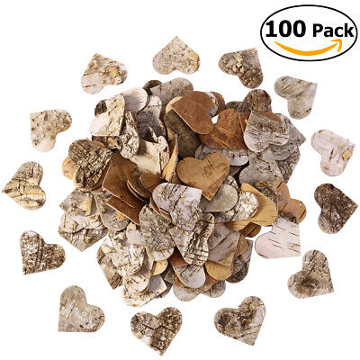 100x 6cm Rustic Vintage Wood Heart Slices Wedding Party DIY Craft Embellishments