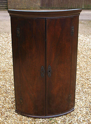 Georgian Mahogany Bow Fronted Corner Cupboard - Delivery Available
