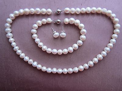 "White Ivory Cultured Pearl Necklace + Bracelet + Earrings Sets 8/9 mm -18"" long"