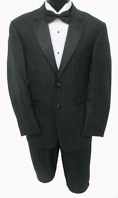High Quality 100% Wool Black Calvin Klein Striped Tuxedo & Pants Wedding Prom