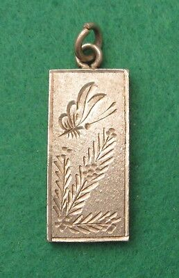 Vintage Fully Hallmarked Engraved Butterfly Flower Sterling Silver Ingot Pendant
