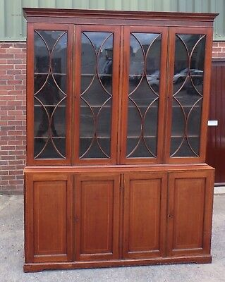 Huge George III antique solid mahogany country house adjustable library bookcase
