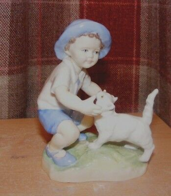 "Royal Worcester ""september"" (Boy With His Cat)5""high By F.g.doughty 5""hi Approx"