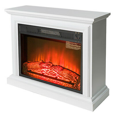 """32"""" Freestanding White Wood Mantel Electric Fireplace Red Flame Firebox Heater"""