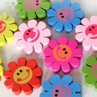 20pcs Wood Beads Lot Mixed Colors Flower Smiling Face Jewelry Making DIY