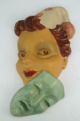 Original ART DECO English B COLLINS Signed Plaster WALL/FACE MASK  1940s.