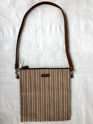 LONGABERGER HOMESTEAD Tan Green Red Striped Tote Shoulder Bag Purse New